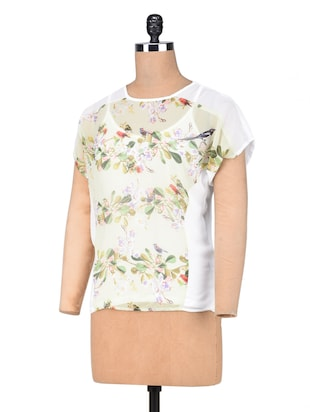 White georgette cotton printed top - 1307425 - Standard Image - 2
