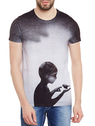 grey polyester graphic printed t-shirt