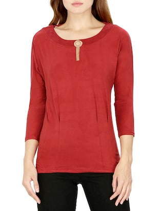 red cotton regular top