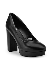 black leather slip on pumps -  online shopping for pumps