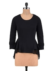 Black Poly Cotton And Poly Georgette Frill Sweatshirt - By