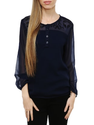 navy blue georgette top