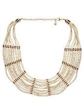 Cream Beads Embellished Necklace - By