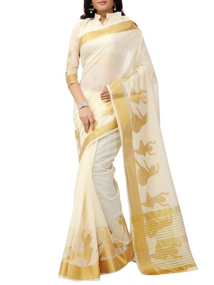 white cotton woven saree