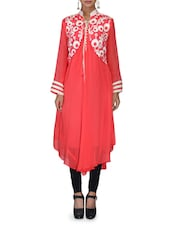 Red Embroidered Flared Georgette Kurta - By