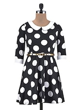 Black Polka Dot Poly-Crepe A-Line Dress - By