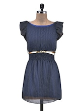 Navy Blue Polka Dot Chiffon Short Dress - By