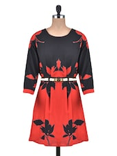Black And Red Floral Georgette Dress - By