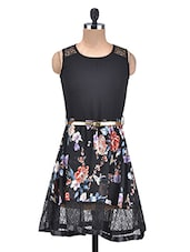 Black Floral Georgette And Net Flared Dress - By
