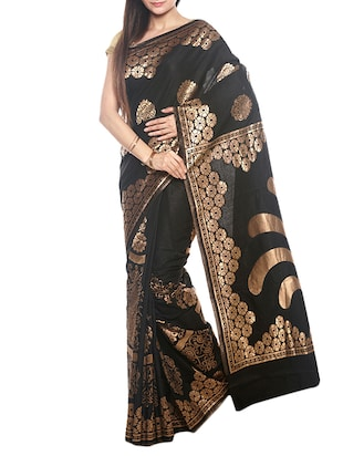 black raw silk woven saree with blouse