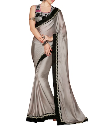 grey georgette bordered saree