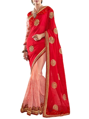 red & pink georgette embroidered half and half saree