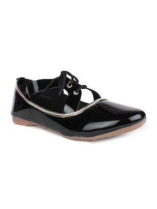 black leatherette laceup casual shoes