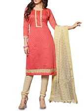Pink Chanderi Printed Dress Material - By