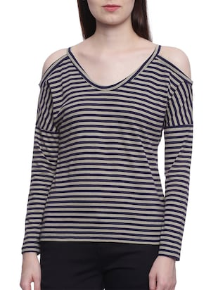 navy blue striped cotton top