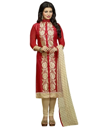 red cotton unstitched suit