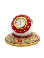 White Marble Meenakari Worked Marble Table Clock - By