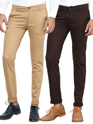 beige brown set of 2 cotton chinos casual trouser -  online shopping for Casual Trousers