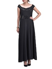 Solid Black Sequined Gathered Maxi Dress - By