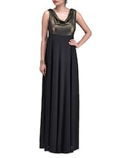 Black Gathered Polyester Maxi Dress - By