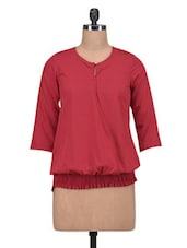 Red Poly Crepe Solid Three Quarter Sleeved Top - By