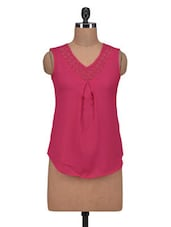Pink Poly Crepe And Lace Solid Sleeveless Top - By