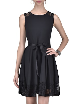 black polyester fit and flare Dress