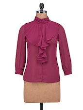 Red Georgette Solid Long Sleeved Top - By