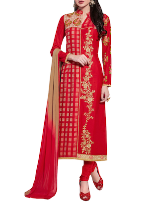 red cotton blend aline suits semistitched suit