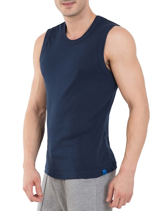 navy cotton vest - 13120660 - Standard Image - 2