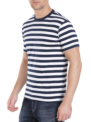 navy blue cotton striped t-shirt - 13120799 - Standard Image - 2