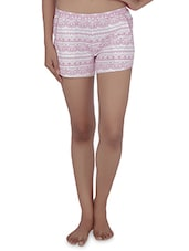 Printed White And Pink Cotton Jersey Shorts - By