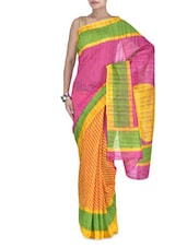 Yellow And Pink Striped Bhagalpuri Silk Saree - By