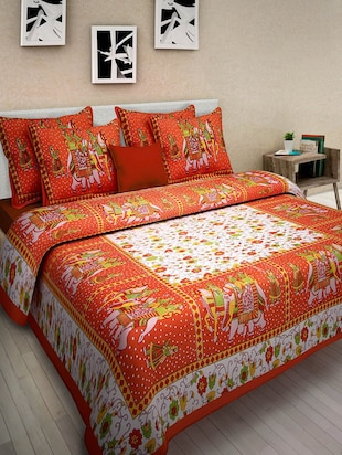 Jaipuri Printed Cotton Bedsheets with 2 Pillow covers