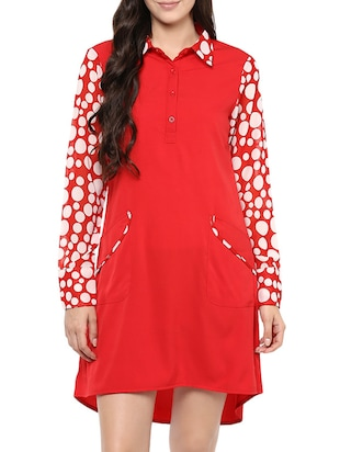 red printed crepe assymetric dress -  online shopping for Dresses