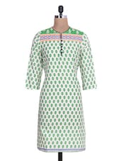 White Cotton Polka Dot Printed Kurti - By