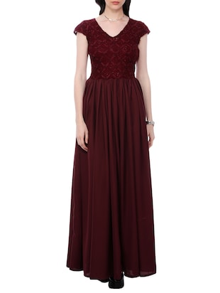 Solid maroon maxi dress
