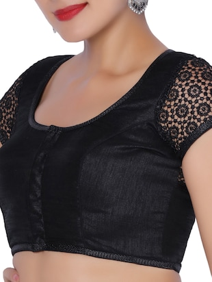 black dupion embroidered blouse