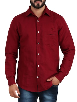 red linen casual shirt -  online shopping for casual shirts