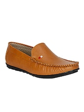 tan leatherette slip on loafer -  online shopping for Loafers