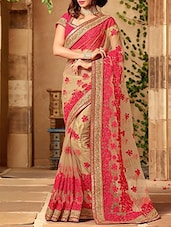 pink net embroidered saree with blouse - online shopping for Sarees