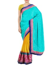 Yellow And Turquoise Jacquard Pure Silk Saree - By