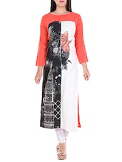 Orange Rayon Printed Long Kurta - By