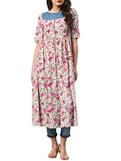 Multi Colored  Crepe Floral  Printed Flared Kurta - By