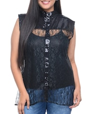 Solid Black Net Shirt - By