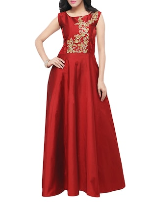 Maroon pure silk semi-stitched gown