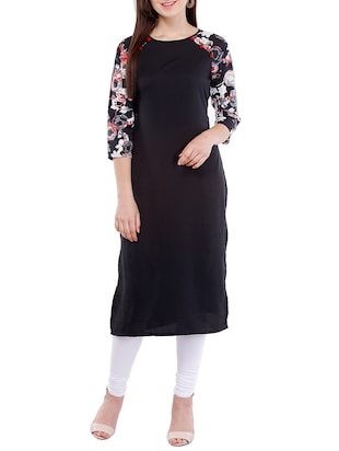 black crepe straight kurta