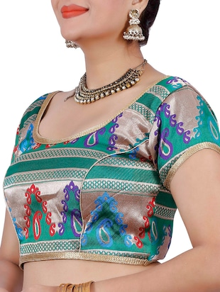 multi art silk brocade blouse