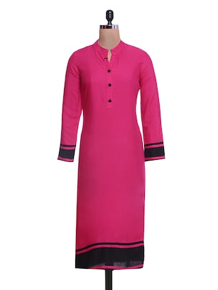 pink and black rayon kurti
