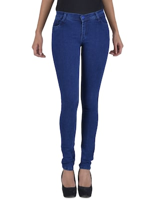 Dark blue fitted stretchable jeans